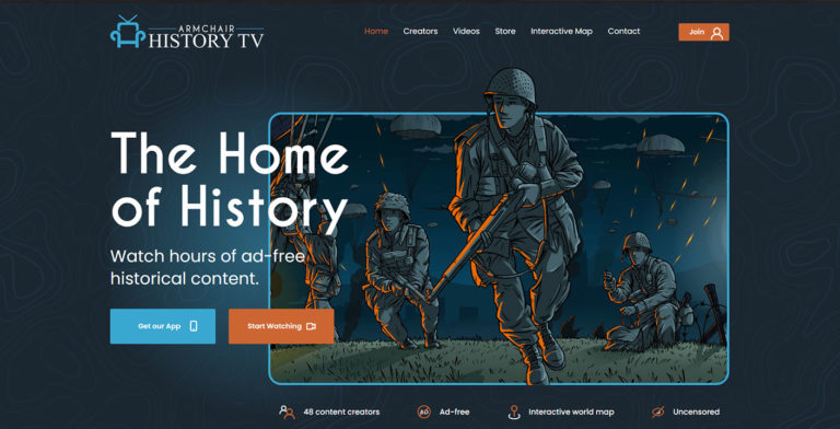 Armchair History Website Design Snippet